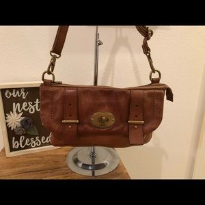 Fossil Leather Satchel Crossbody In Chestnut